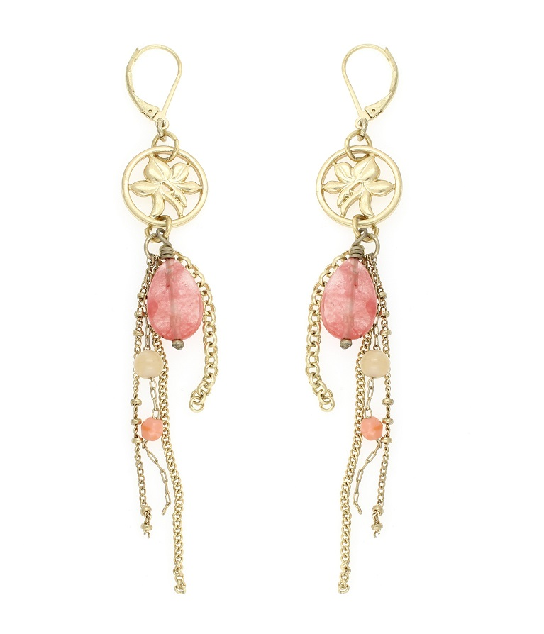 Disc Tassel Drop Earrings - Gold Plate/Orange/Pink/Peach - BOHM BNWT