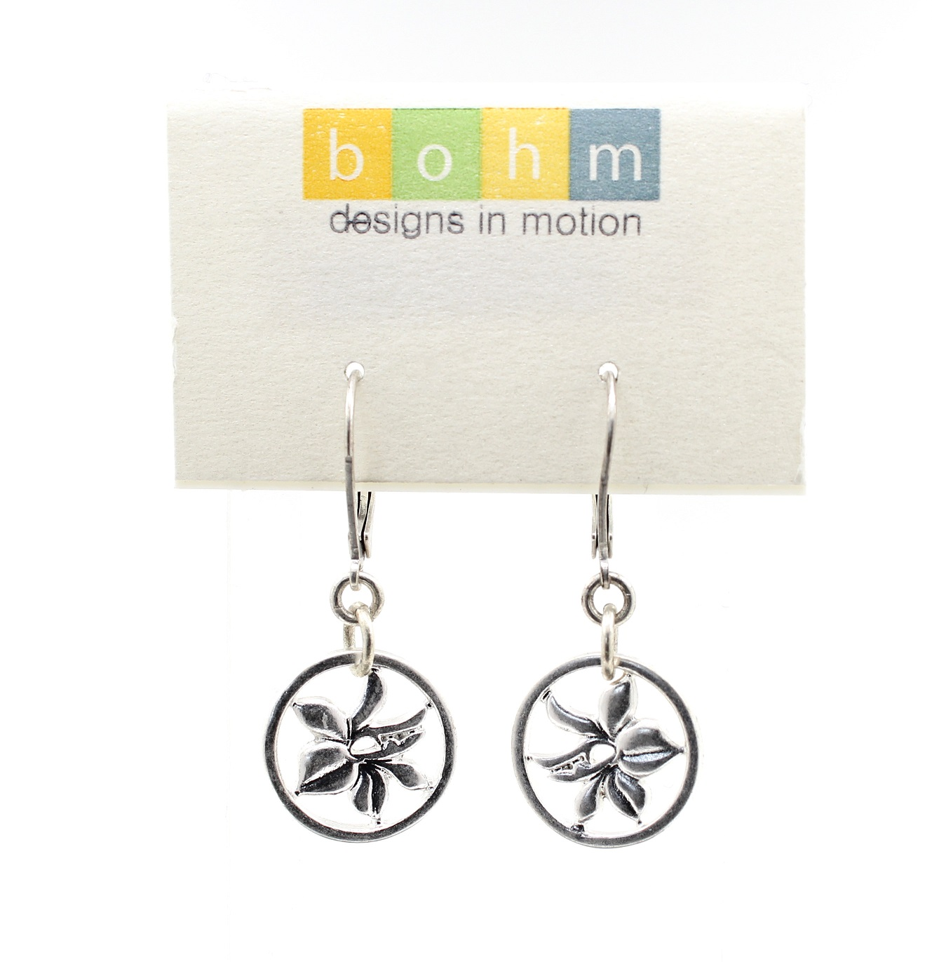 Bohm Floral Folklore - Orchid Silhouette Earrings - Silver Plate BNWT