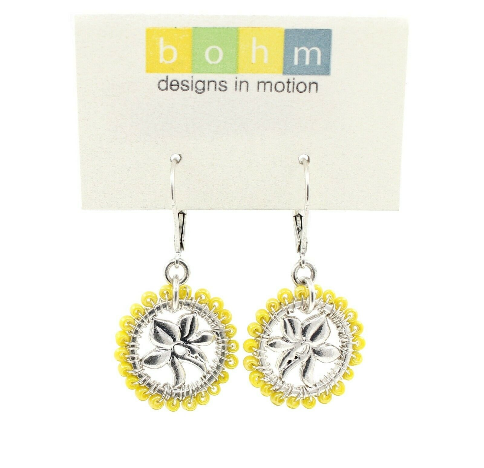 Bohm Floral Folklore - Orchid Silhouette Earrings - Silver Plate/Yellow Beads BNWT