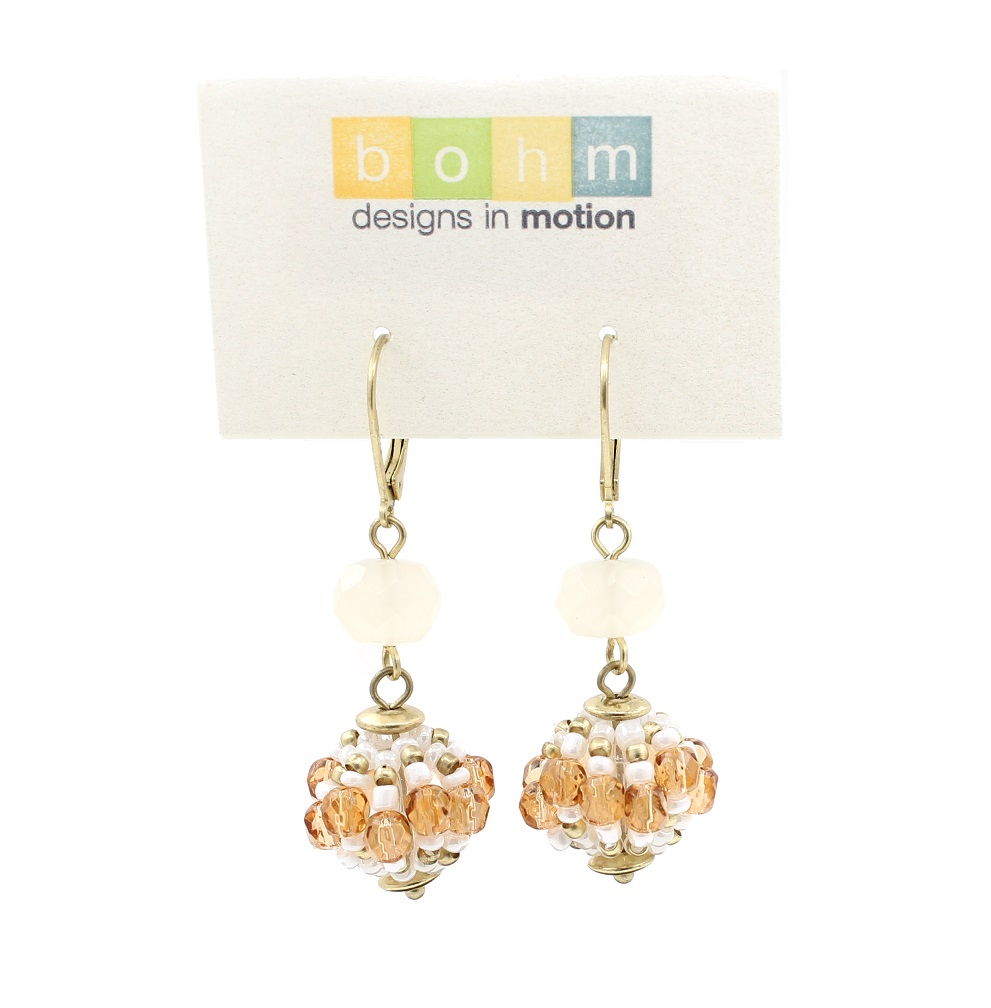 Bohm Floral Folklore - Woven Sphere Crystal Earrings - Gold Plate/Cream & Naturals BNWT