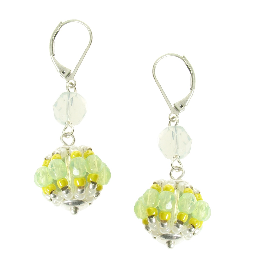 Bohm Floral Folklore Woven Sphere Crystal Earrings - Silver Plate/Green & Yellow