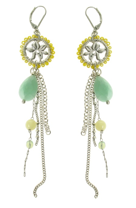 Disc Tassel Drop Earrings - Silver Plate/Green - BOHM BNWT