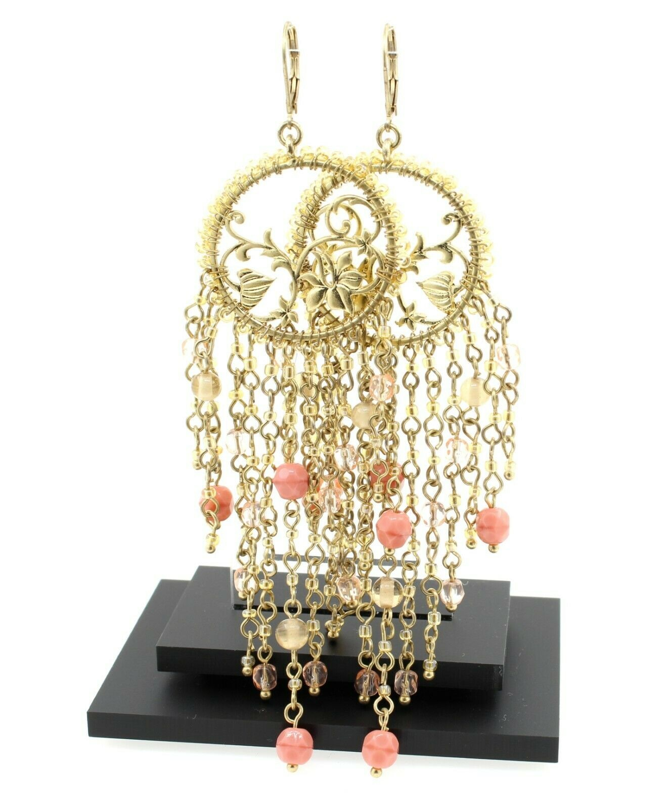Bohm Floral Folklore - Floral Silhouette & Glass Beaded Cascade Earrings - Gold Plate/Peach BNWT