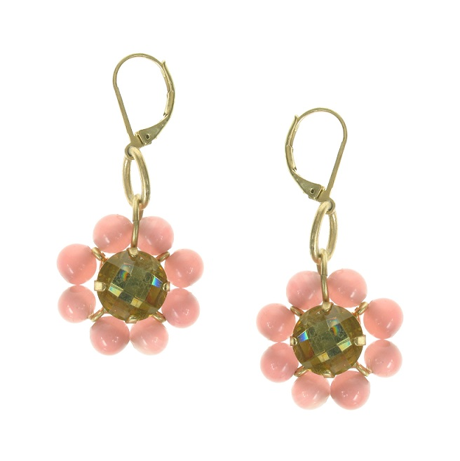 Bohm Floral Folklore Flower Bead Earrings - Gold Plate/Peach