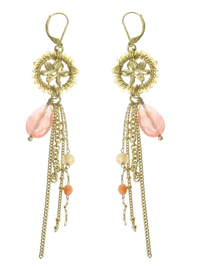 Bohm Floral Folklore Disc Drop Earrings - Gold Plate/Peach