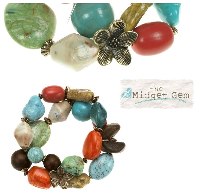 Boho Glam Stretch Bracelet - Coral/Turquoise/Brown