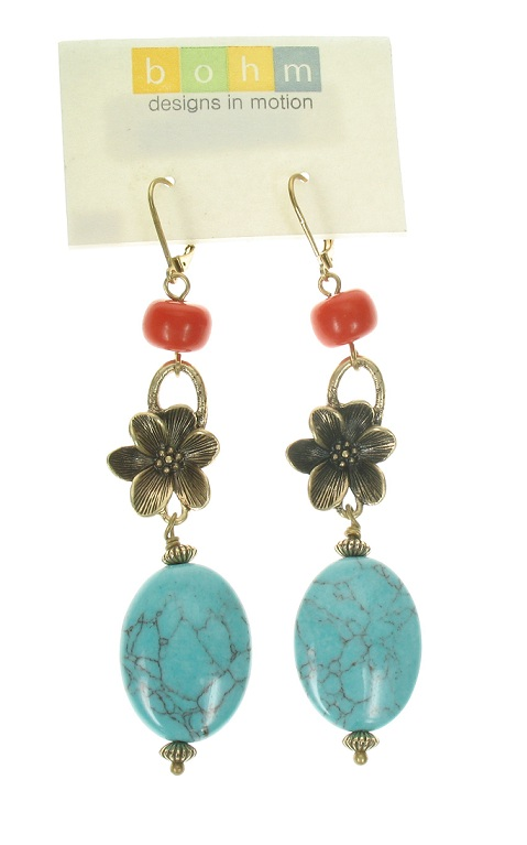 Boho Glam Long Length Earrings - Coral/Turquoise