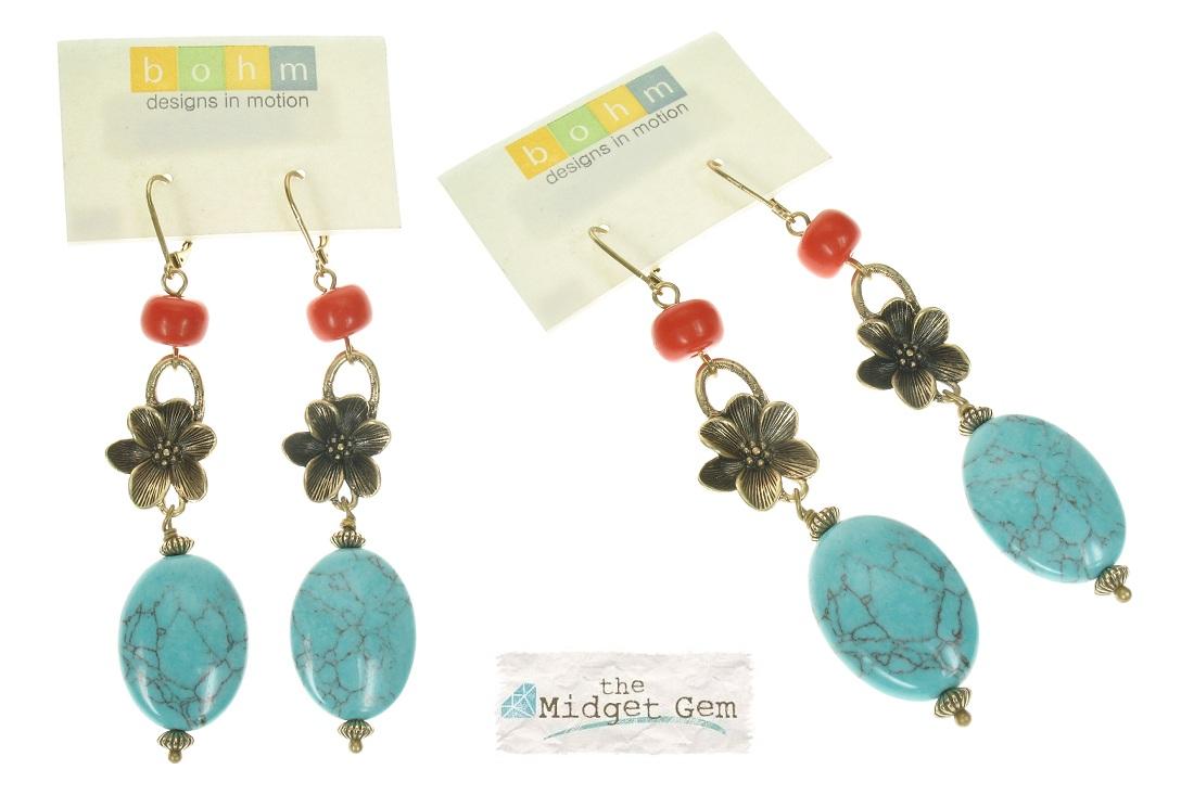 Boho Glam Long Length Earrings - Coral/Turquoise
