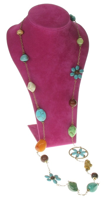 Boho Glam Long Length Necklace - Turquoise/Brown.