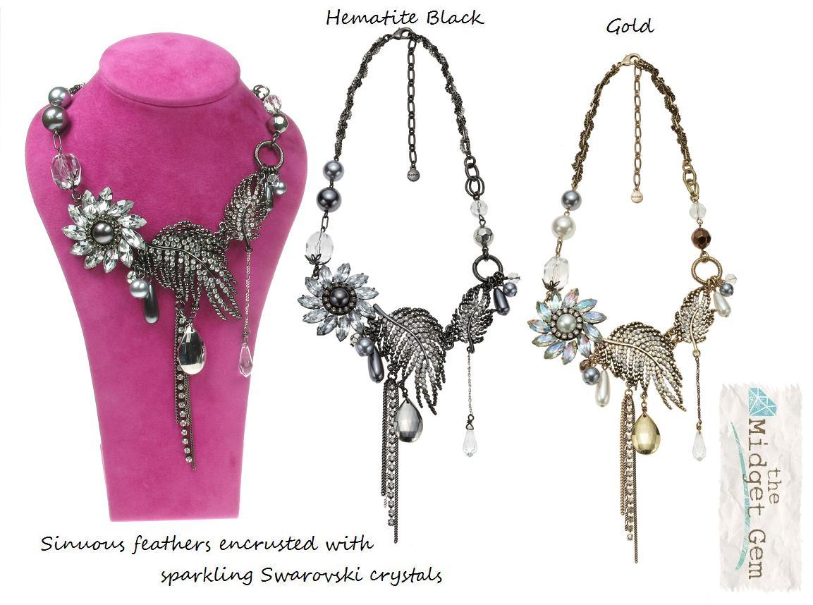 Bohm Ice Petals Elaborate Flower & Feather Necklace