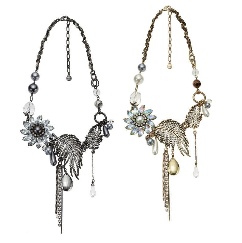 Bohm Ice Petals Elaborate Flower & Feather Necklace