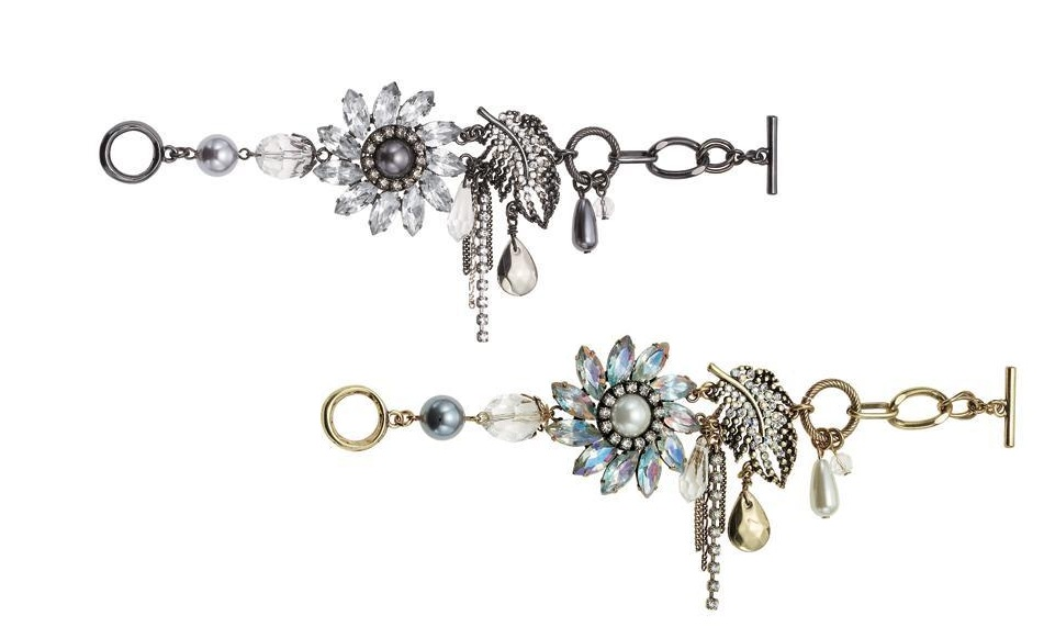Bohm Ice Petals Elaborate Flower & Feather Bracelet