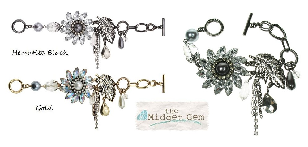 Bohm Ice Petals Elaborate Flower & Feather Bracelet