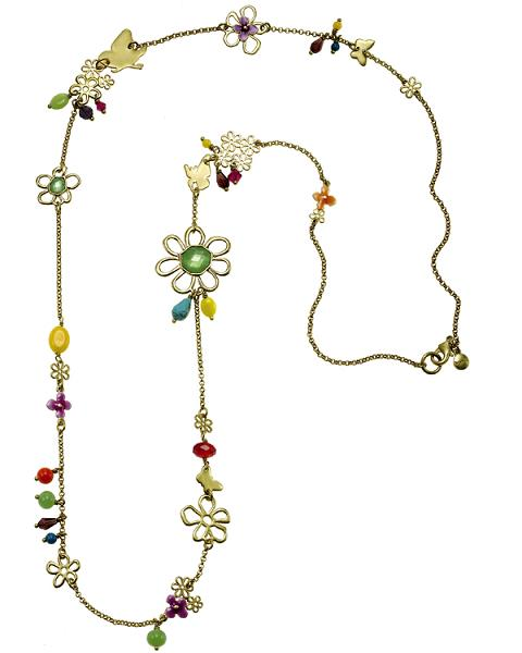 The Bohm Delicate Trinkets Long Length Necklace Gold/Multi