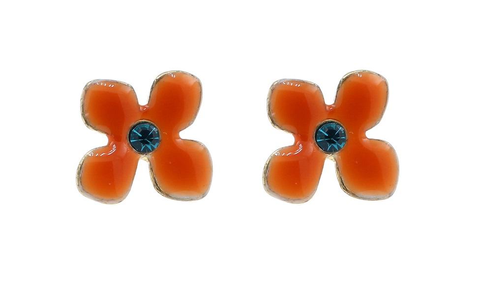 Delicate Trinkets Flower Stud Earrings - Orange/Gold Plate