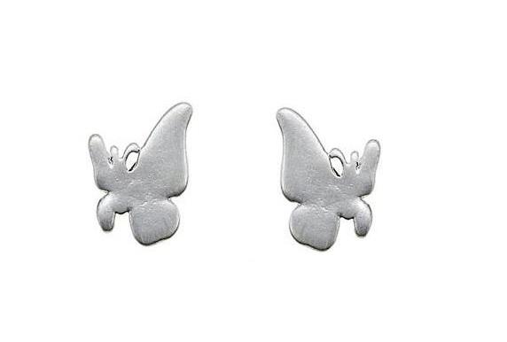 Delicate Trinkets Butterfly Stud Earrings - Satin Silver Plate