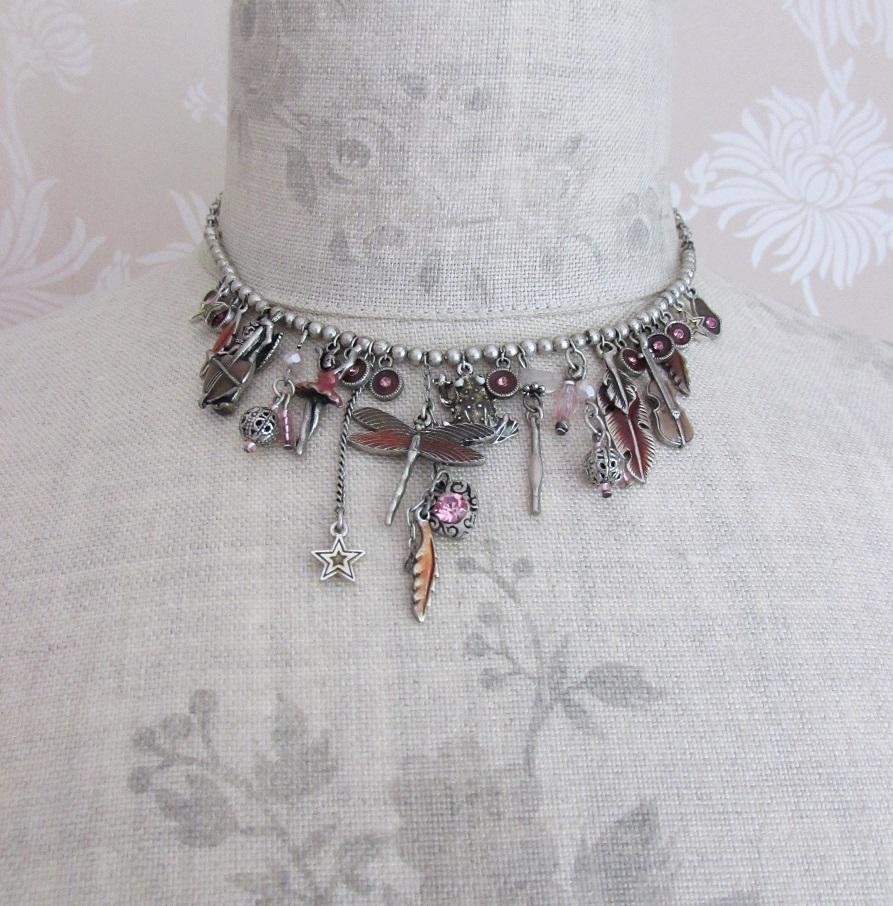 PILGRIM - Cirque - Charm Necklace - Silver Plate/Pink BNWT