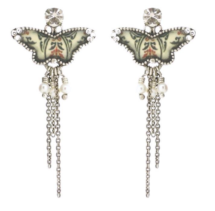 PILGRIM - Butterflies - Long Charm Earrings - Cream/Silver BNWT