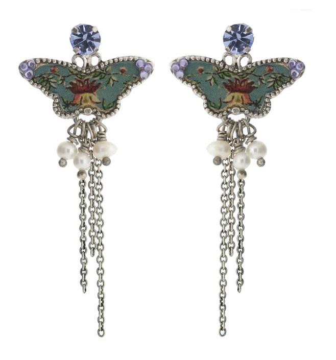 PILGRIM - Butterflies - Long Charm Earrings - Light Blue/Silver BNWT