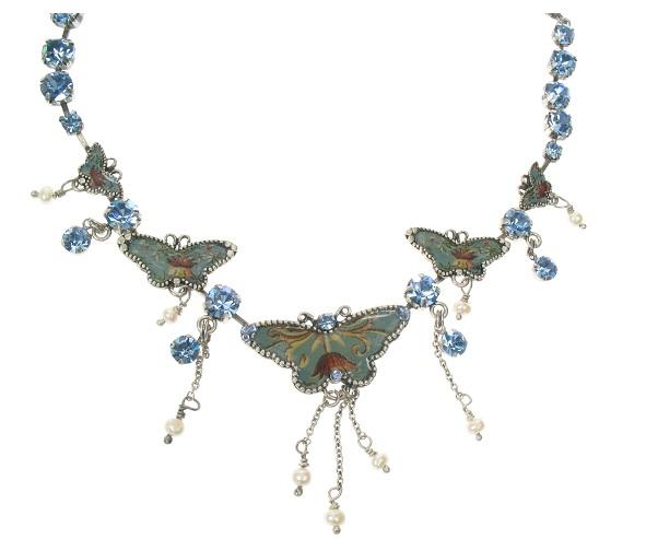 PILGRIM Butterflies Charm Necklace - Light Blue/Silver