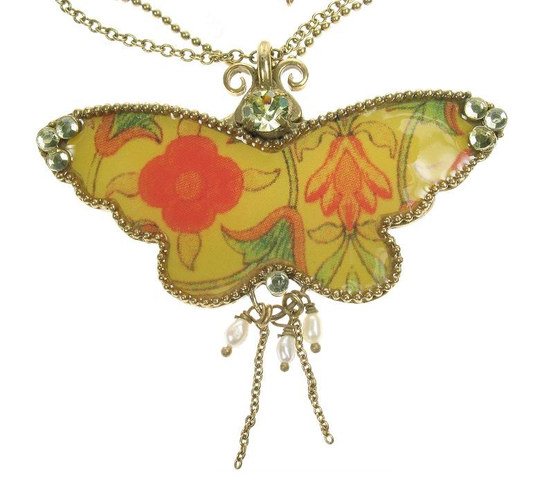 PILGRIM Butterflies Pendant Necklace - Yellow/Orange/Gold