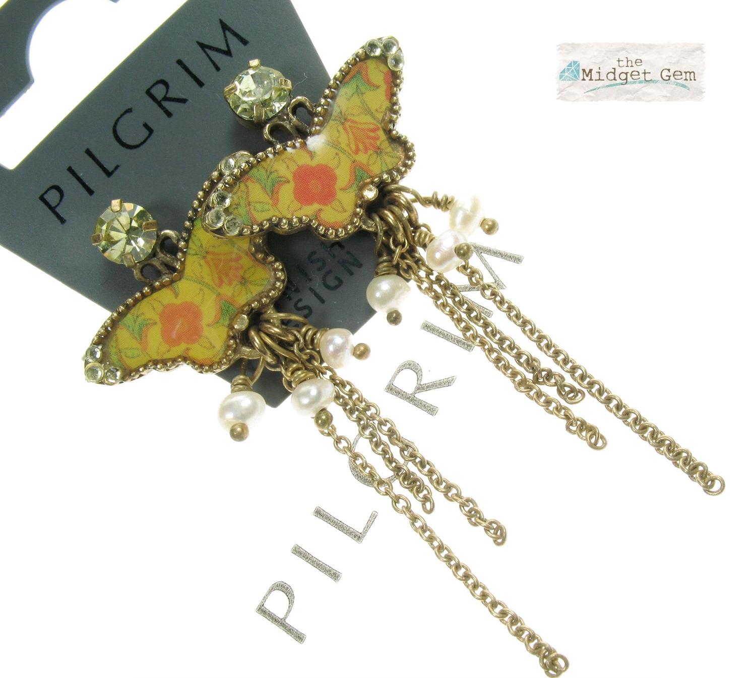 PILGRIM - Butterflies - Long Charm Earrings - Yellow/Orange/Gold BNWT