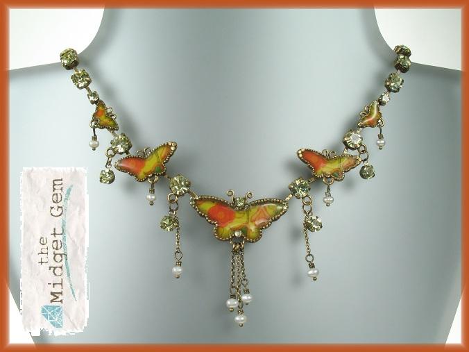PILGRIM Butterflies Charm Necklace - Yellow/Orange/Gold