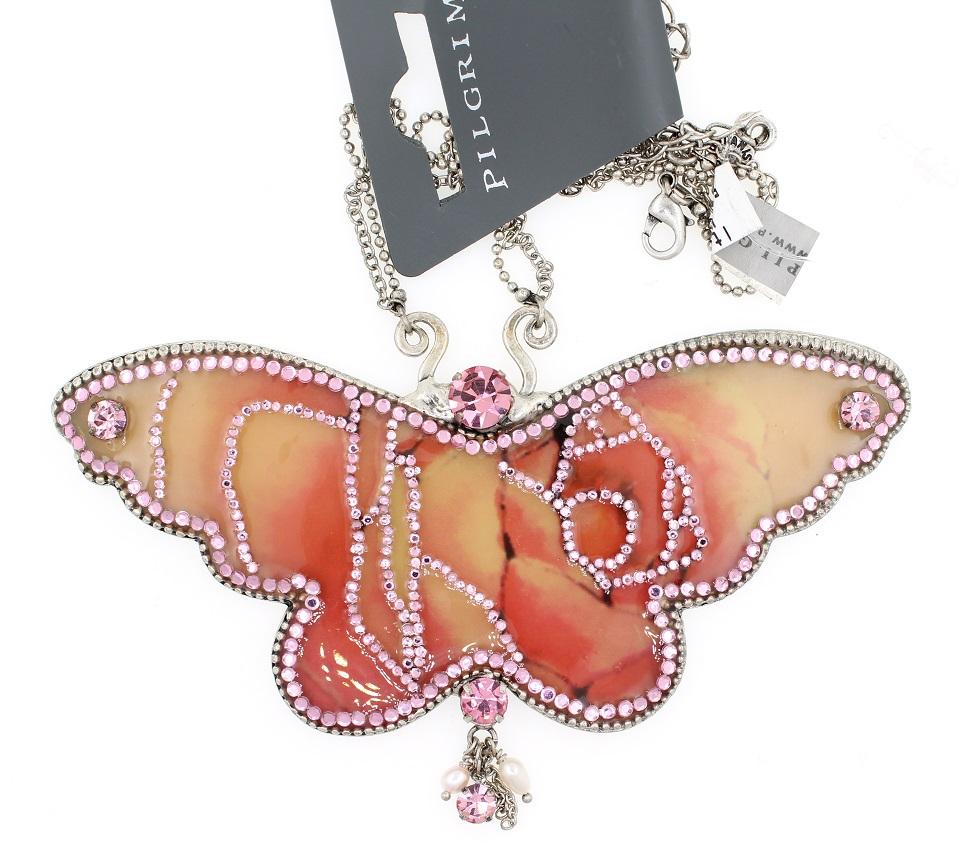 PILGRIM Butterflies Large Pendant Necklace - Pink/Silver