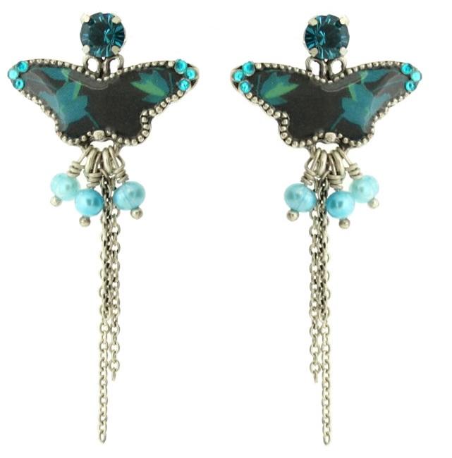 PILGRIM - Butterflies - Long Charm Earrings - Dark Blue/Silver BNWT