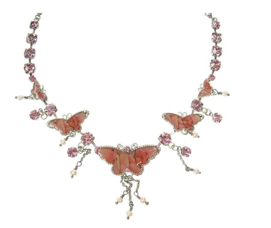 PILGRIM Butterflies Charm Necklace - Pink/Silver