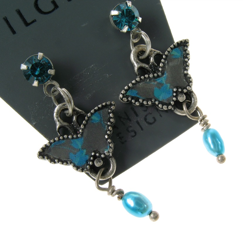 PILGRIM - Butterflies - Small Charm Earrings - Dark Blue/Silver BNWT