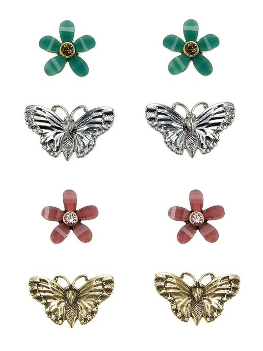 The Bohm Paradise Butterfly & Flower Stud Earrings - 2 Pairs