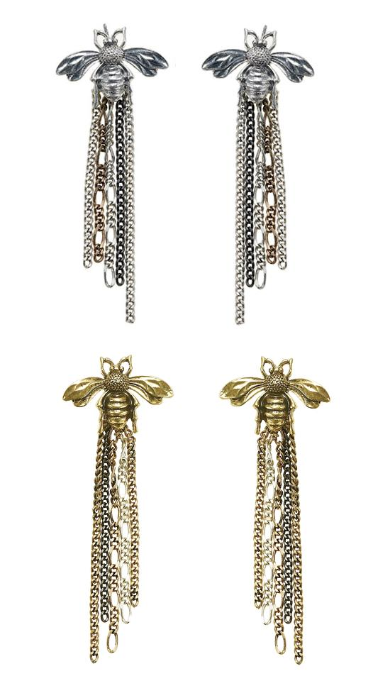 The Bohm Paradise Bee Chain Cascade Earrings