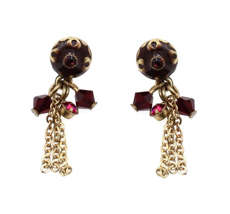 PILGRIM - Waterfall Earrings - Gold/Red BNWT
