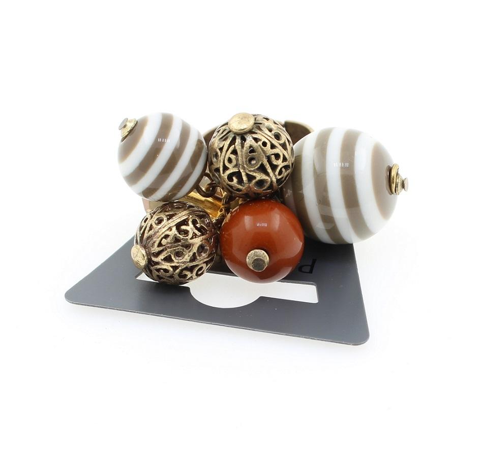 PILGRIM Adjustable Ring Retro PLASTIC FANTASTIC Brown Cream BNWT - Vintage Gold