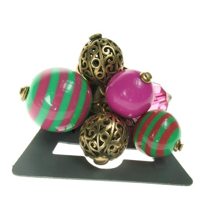 PILGRIM Adjustable Ring Retro PLASTIC FANTASTIC Green Pink BNWT - Vintage Gold