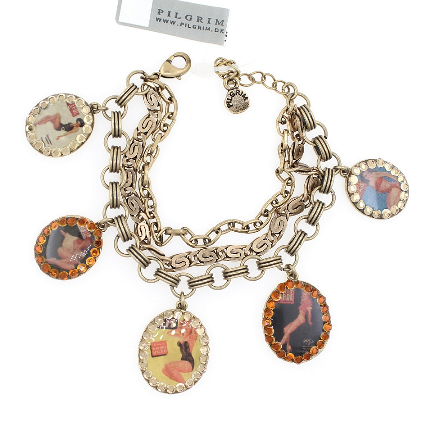 PILGRIM Bracelet PLASTIC FANTASTIC Pin-Up Girls Charm BNWT - Vintage Gold Brown Swarovski