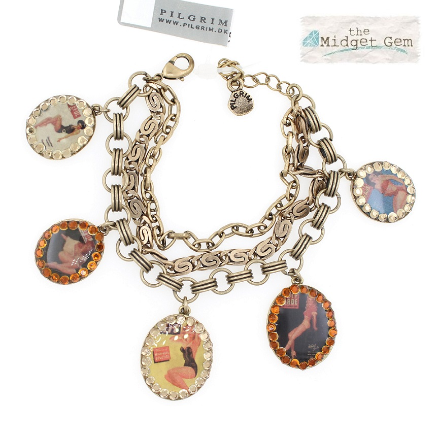 PILGRIM Bracelet PLASTIC FANTASTIC Pin-Up Girls Charm BNWT - Vintage Gold Brown Swarovski