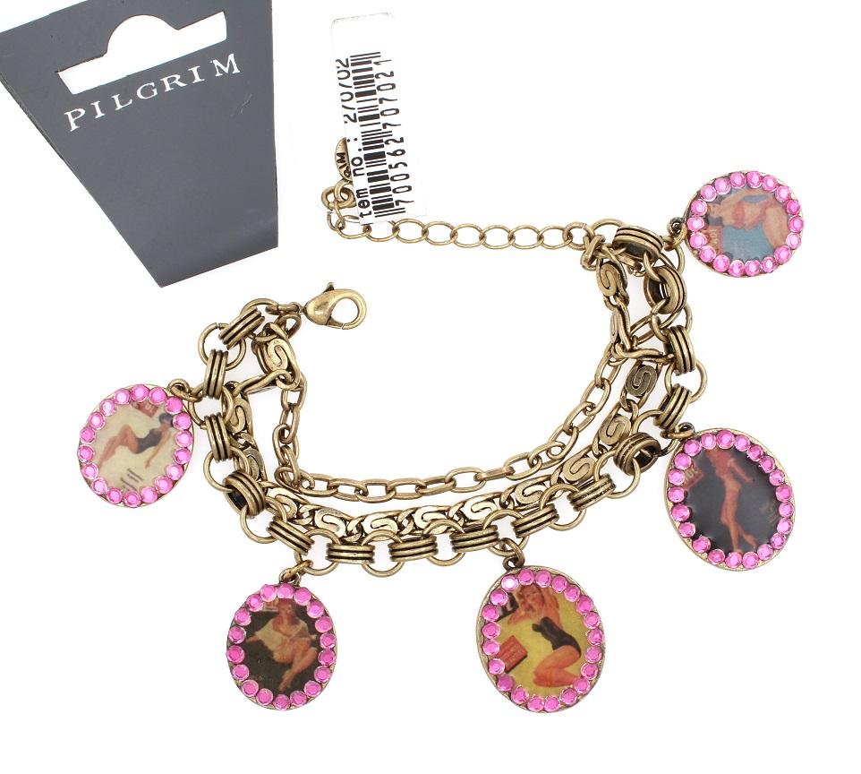 PILGRIM Bracelet PLASTIC FANTASTIC Pin-Up Girls Charm BNWT - Vintage Gold Pink Swarovski