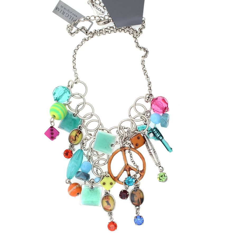 PILGRIM Necklace PLASTIC FANTASTIC Retro Turquoise Blue Pink BNWT - Vintage Silver