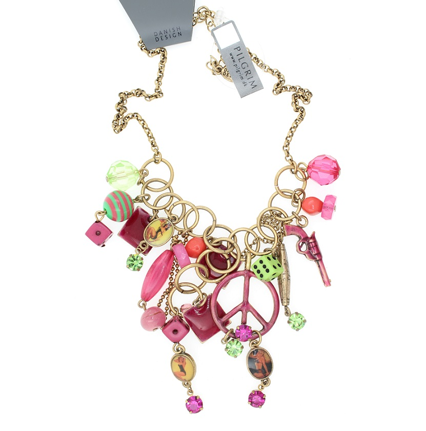 PILGRIM Necklace PLASTIC FANTASTIC Retro Pink Green BNWT - Vintage Gold