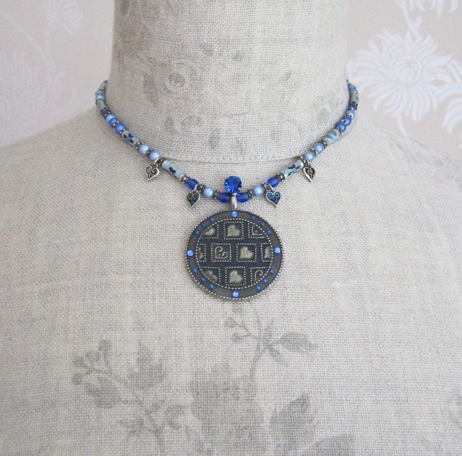PILGRIM - Necklace - Silver Blue Swarovski & Enamel HEART Beads BNWT
