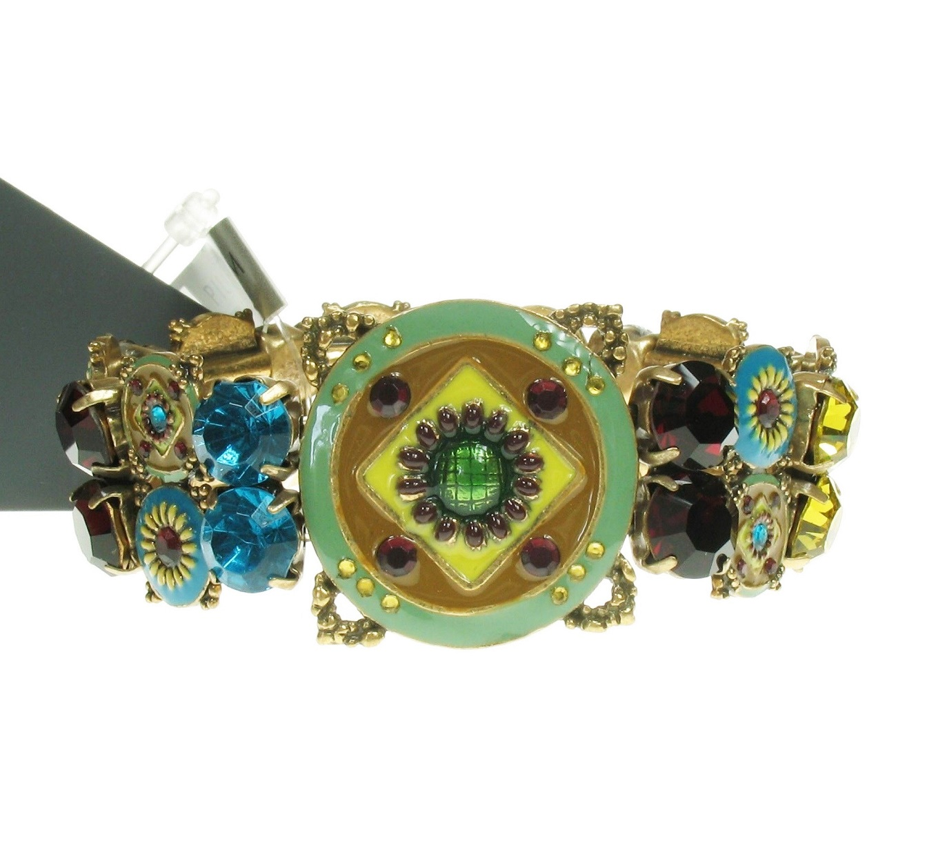 Pilgrim Bracelet - EASTERN ESSENCE - Gold Plate & Multi-Colours (Green, Turquoise, Ruby Red, Aqua, Yellow)  BNWT