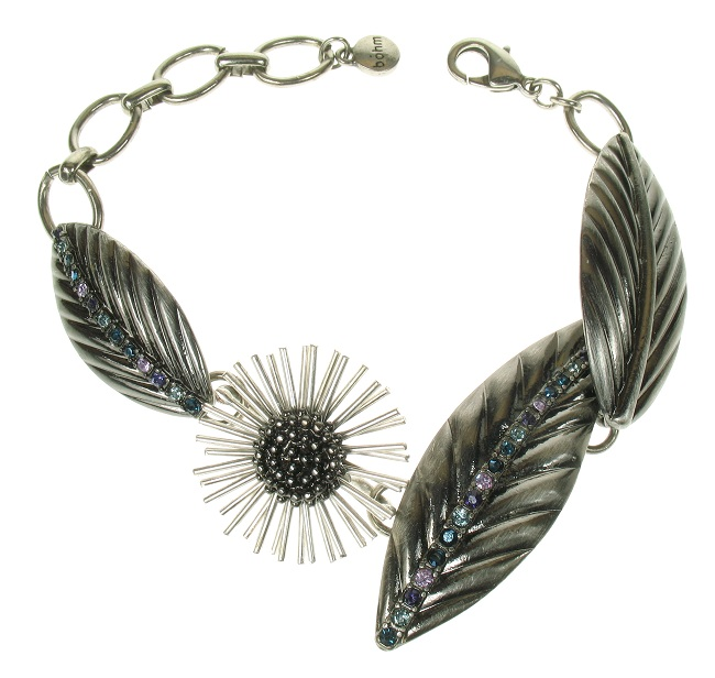 The Bohm - Eccentric Elegance - Leaf & Flower Bracelet - Hematite/Blue