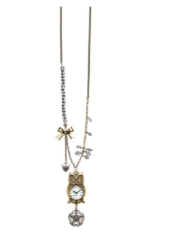 Charm Du Jour Long Owl Necklace - Mixed Gold/Silver Plates