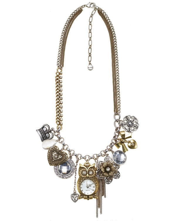 'Charm Du Jour' Owl Multi-Strand Necklace - Mixed Gold/Silver Plates