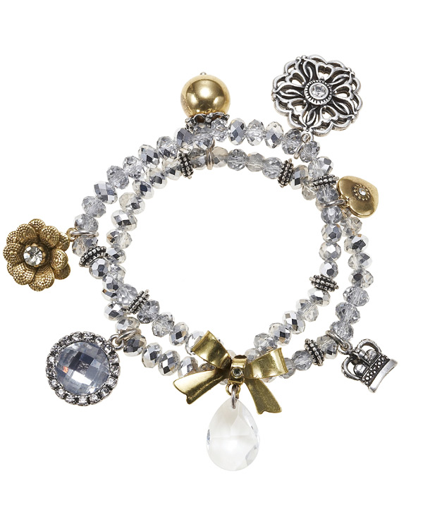 'Charm Du Jour'  Crystal Charm Stretch Bracelet - Mixed Gold Silver Plate