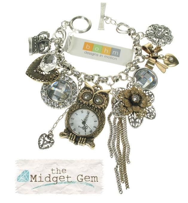 'Charm Du Jour' Owl Multi-Charm Bracelet - Mixed Gold/Silver Plates