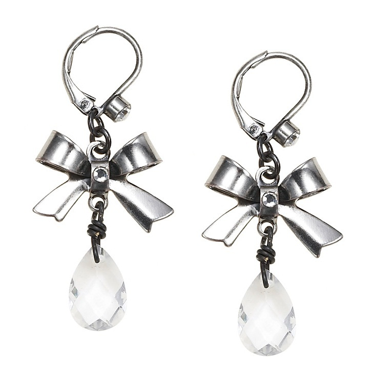 'Charm Du Jour'  Bow & Crystal Drop Earrings - Hematite Plate