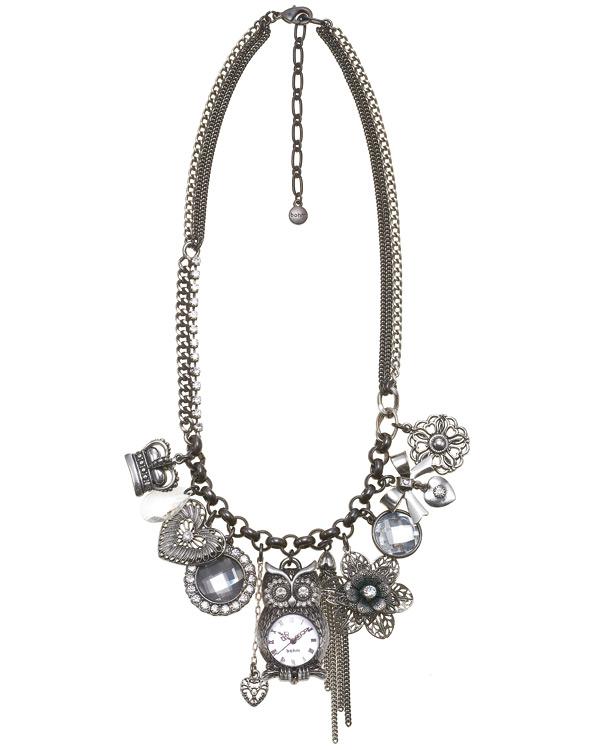 'Charm Du Jour' Owl Multi-Strand Necklace - Hematite Plates